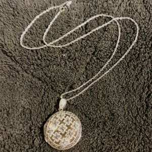 Sterling Silver Large Marcasite Round Locket
